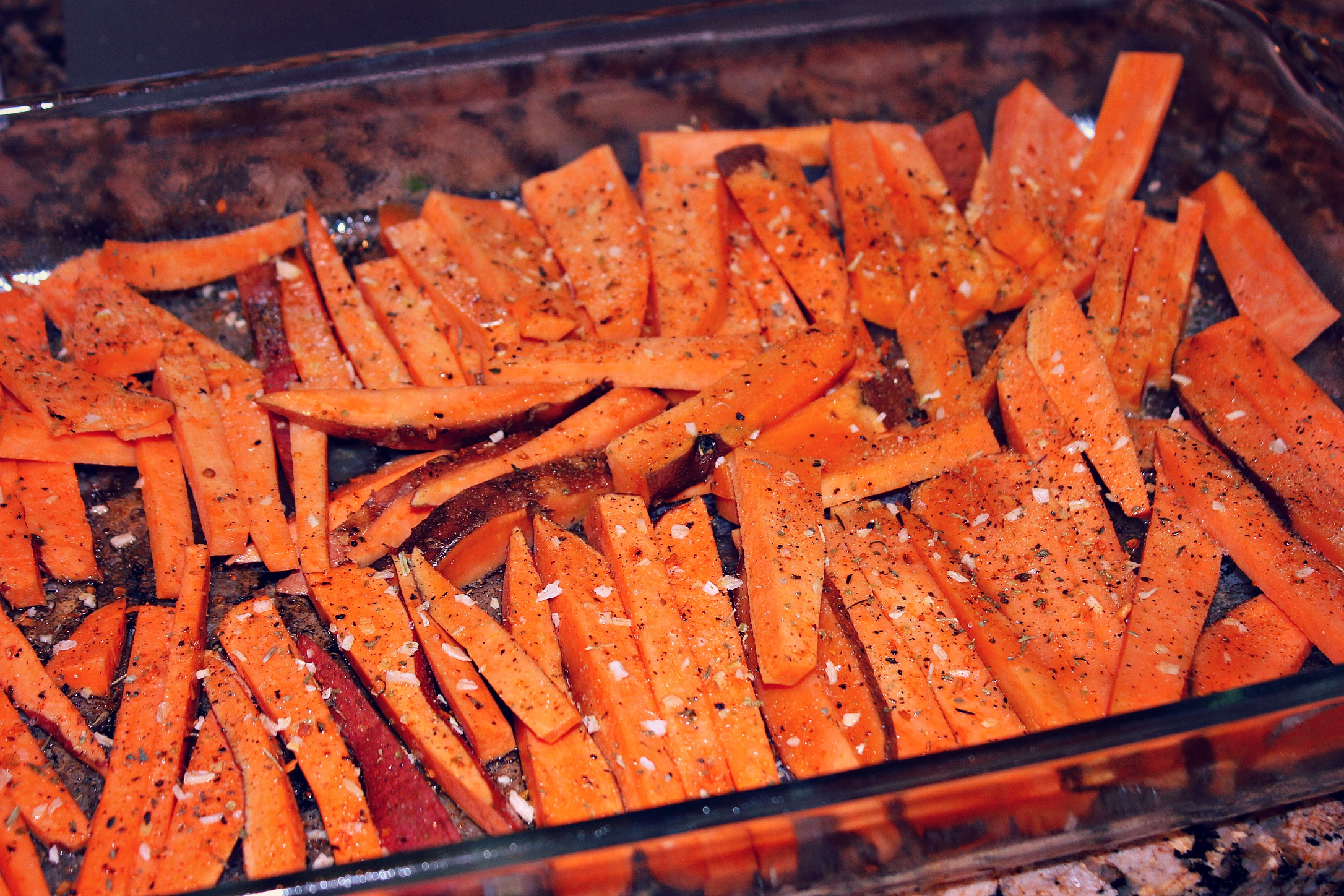I Boiled The Sweet Potatoes Until Slightly Soft And Then Cut Them Into Fries I Laid Them In A Greased Baking Dish And Seasoned Them With Rosemary