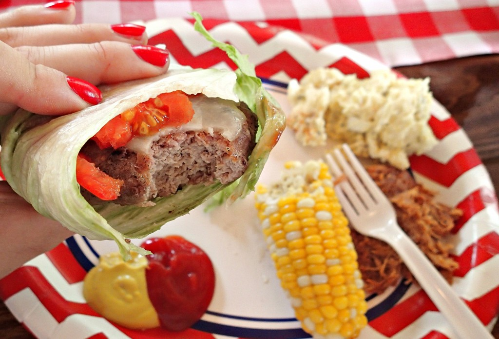 healthy bbq lettuce wrap turkey burger