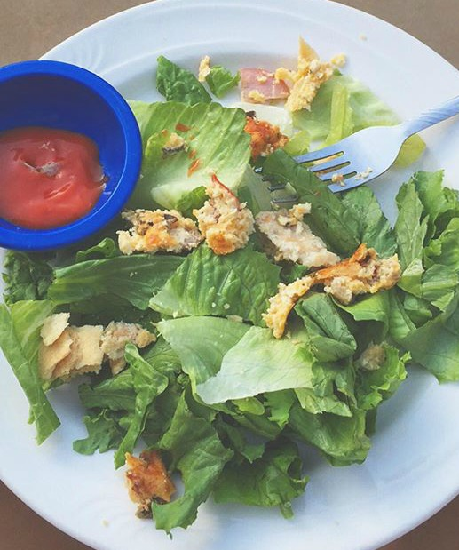 quiche on salad