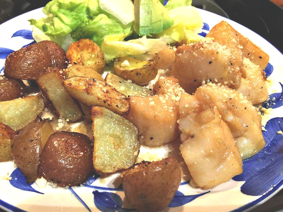 roasted potatoes and scallops