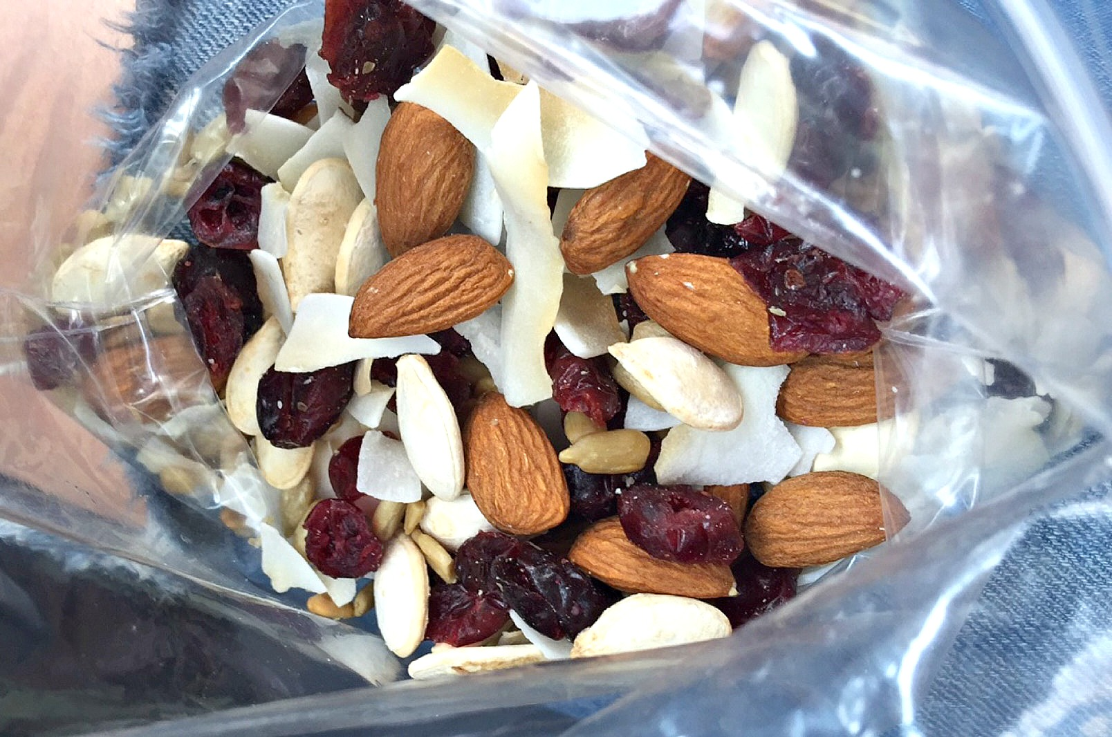 I made a little snack mix that had almonds, cranberries, sunflower seeds, toasted unsweetened coconut, pumpkin seeds and walnuts.