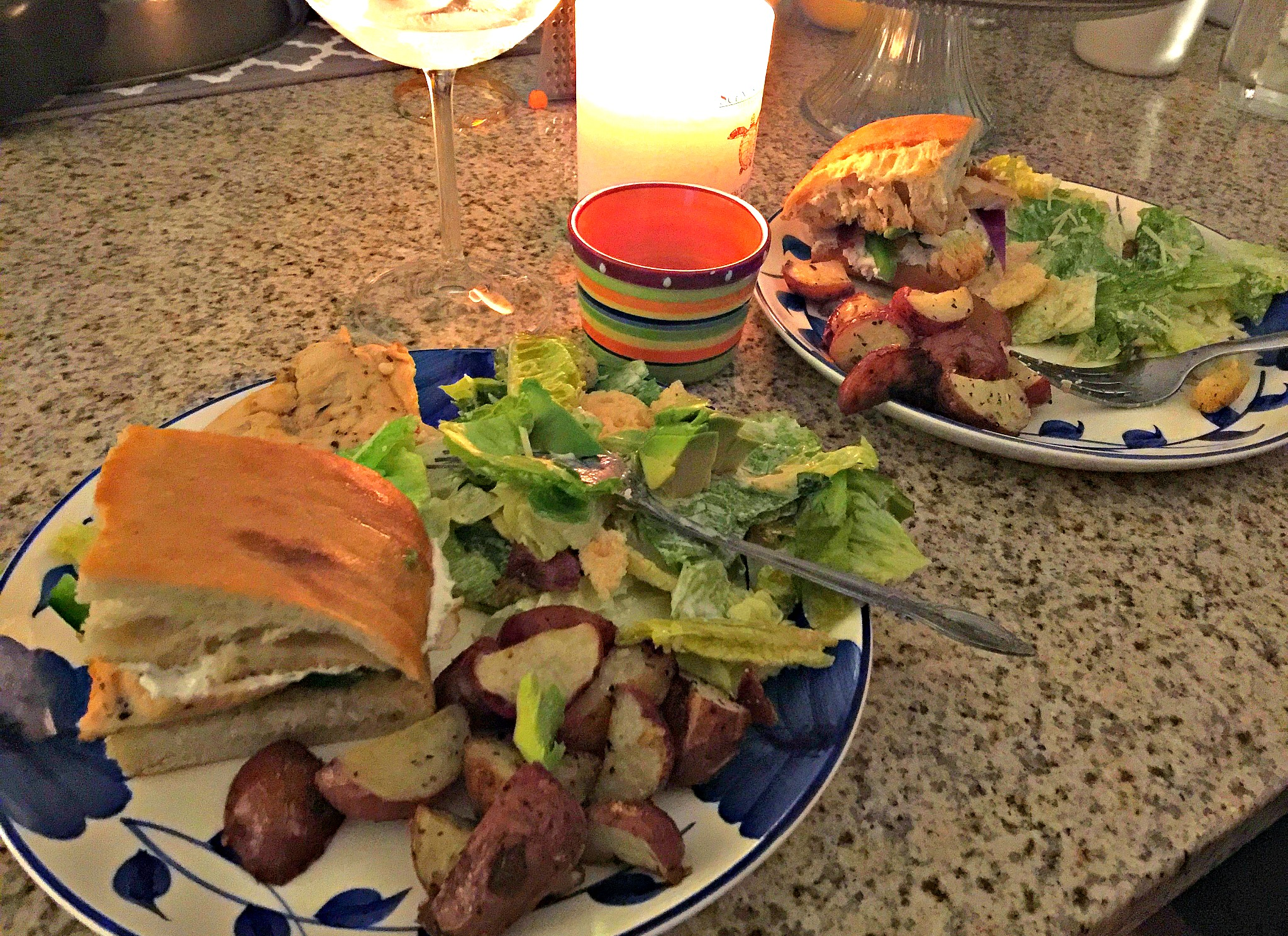 Avocado Bacon Chicken Sandwiches with Lemon Garlic Cream Cheese on Toasted Ciabatta Bread.
