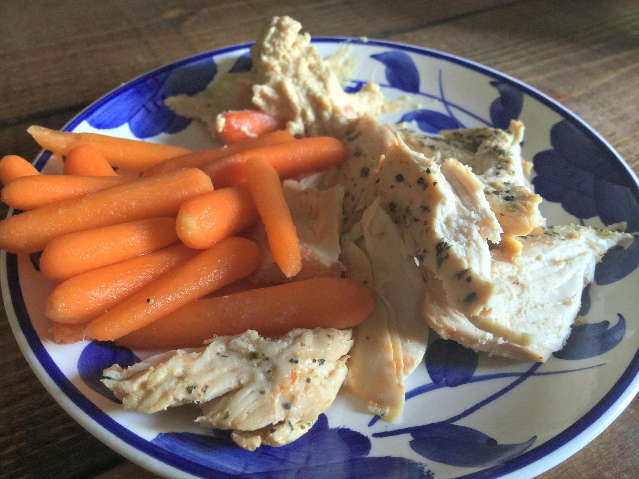 chicken, carrots, and hummus