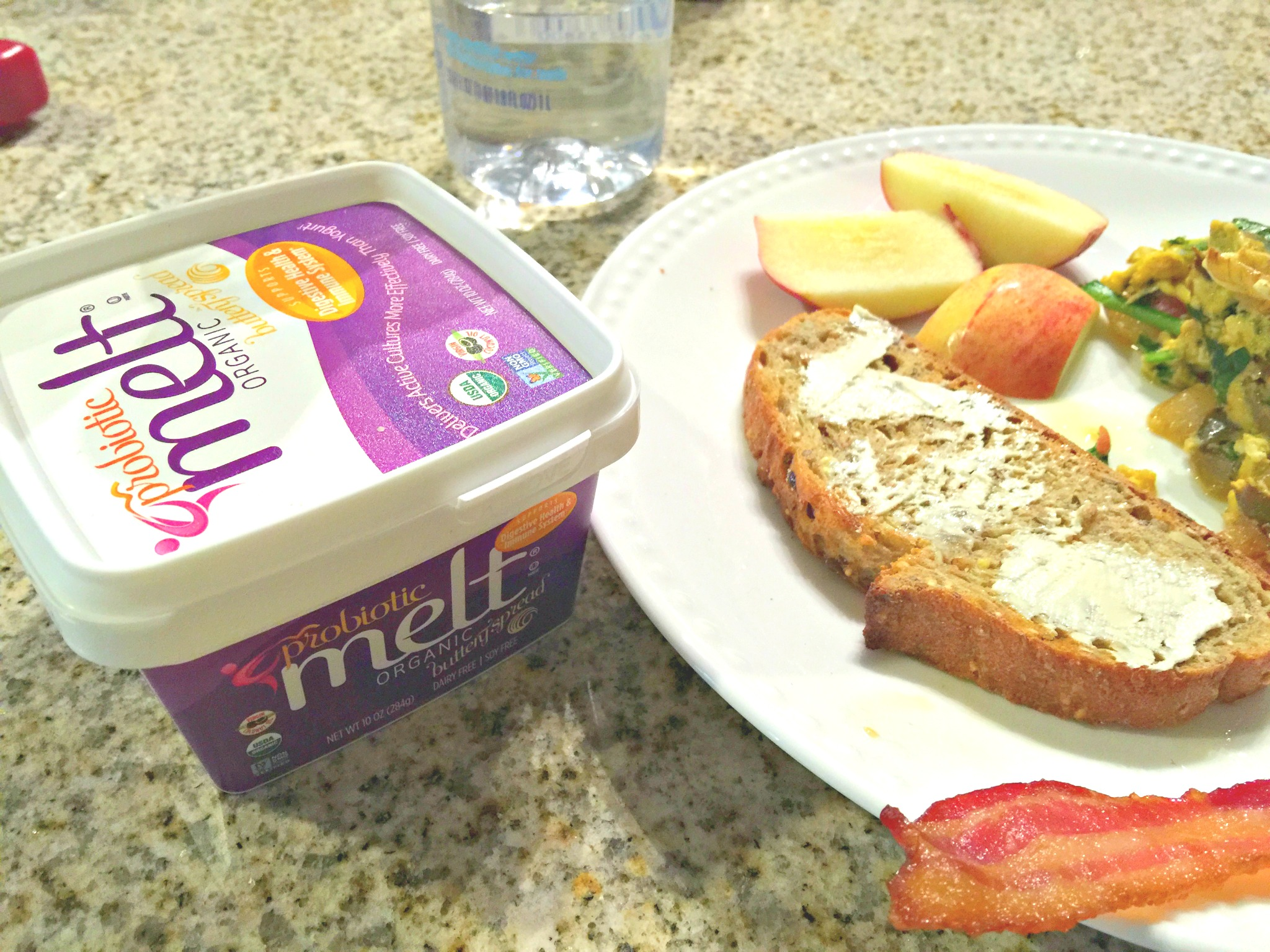 Perfect Breakfast: Whole Grain Toast, Apple Slices, Bacon & Veggie Egg Scramble. Probiotic Melt (vegan butter)