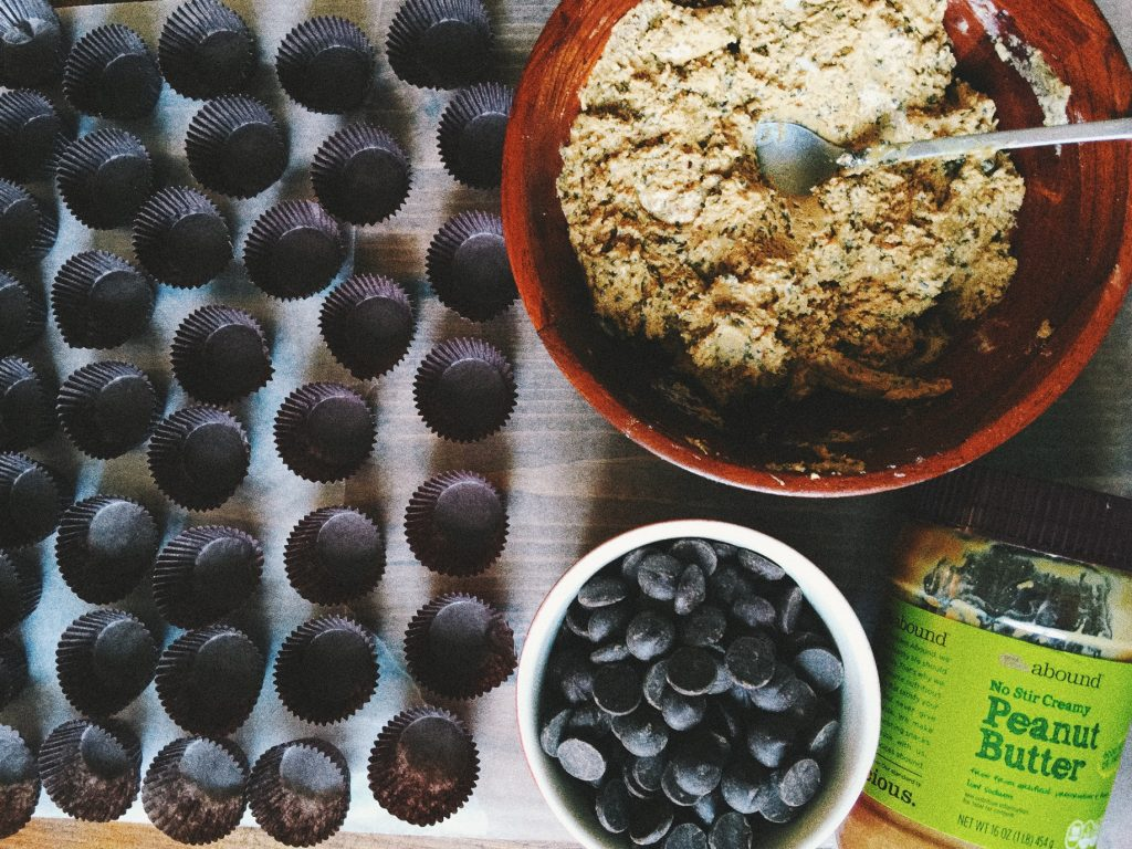 Homemade Protein Packed Peanut Butter Cups Made With 60 % Dark Chocolate + Flaxseeds, Chia Seeds, Coconut Oil & Honey! with VSCO with f1 preset