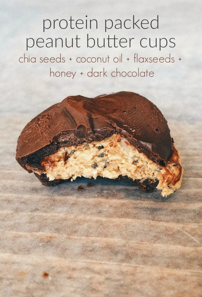 Protein Packed Peanut Butter Cups With Dark Chocolate, Chia Seeds, Coconut Oil, Flax Seeds & Honey!