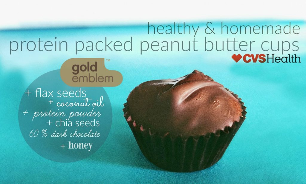 Homemade Protein Packed Peanut Butter Cups Made With 60 % Dark Chocolate + Flaxseeds, Chia Seeds, Coconut Oil & Honey!
