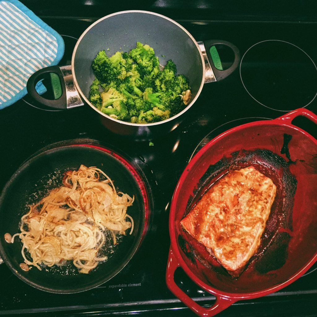 Bourbon Salmon, Broccoli & Papas Fritas