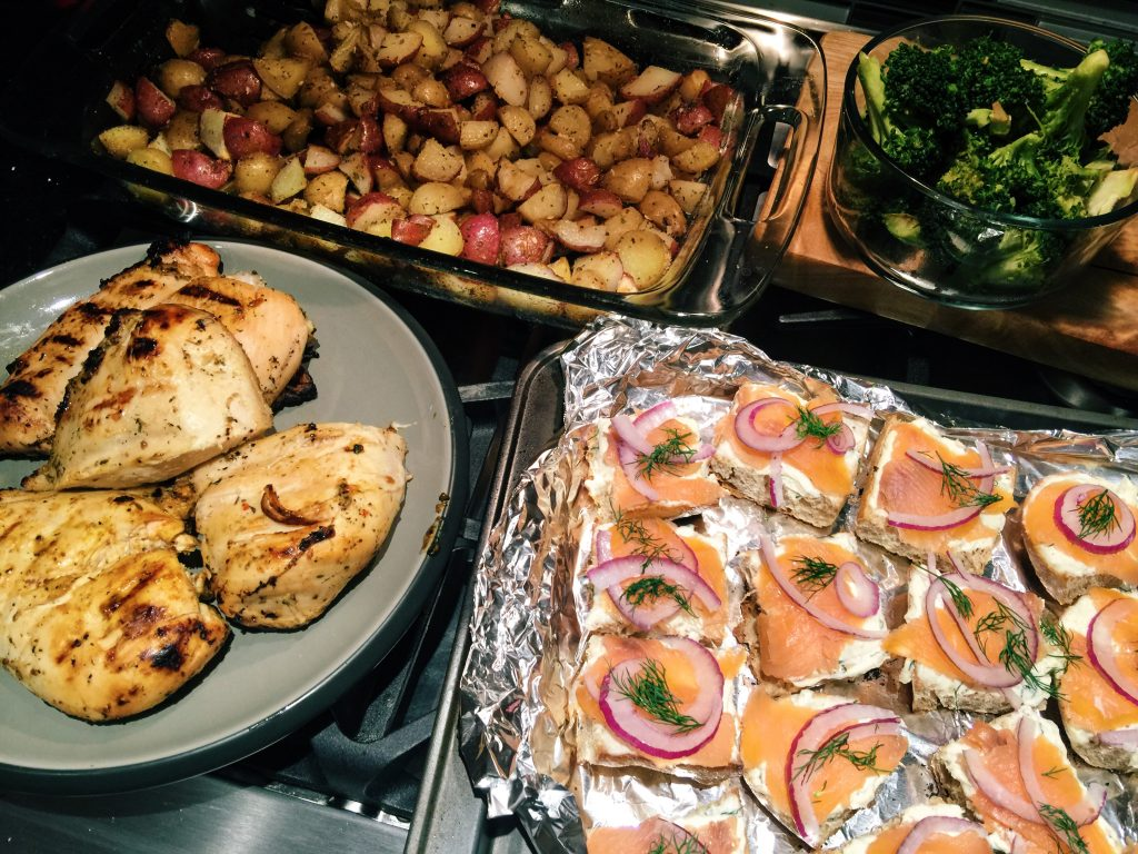 Garlic Cream Cheese & Smoked Salmon over Whole Wheat Baguettes, Broccoli, and red onion! Grilled Chicken! Baked potatoes!