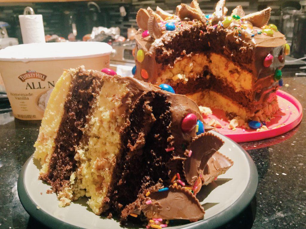 Ultimate Four Layered Peanut Butter Chocolate Fudge Cake