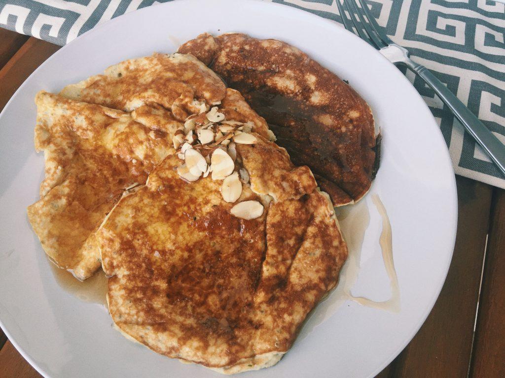 Banana Egg Pancakes: Protein Powder, Hemp Seeds, Chia Seeds, Banana, Egg, & Stevia.
