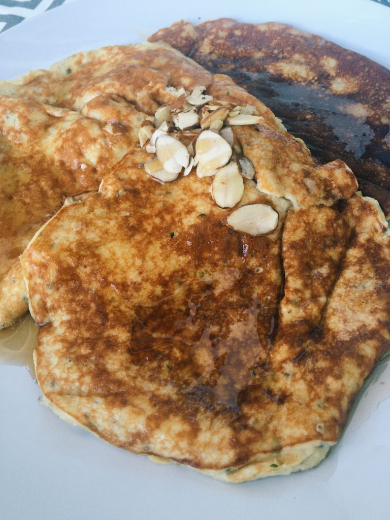 Banana Egg Pancakes: Protein Powder, Hemp Seeds, Chia Seeds, Banana, Egg, & Stevia.