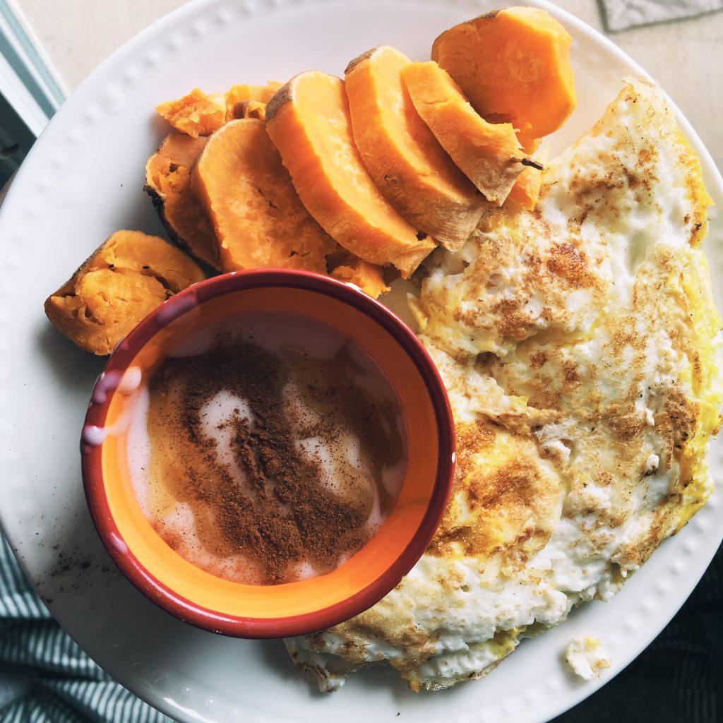 sweet potato, coconut yogurt, omelet