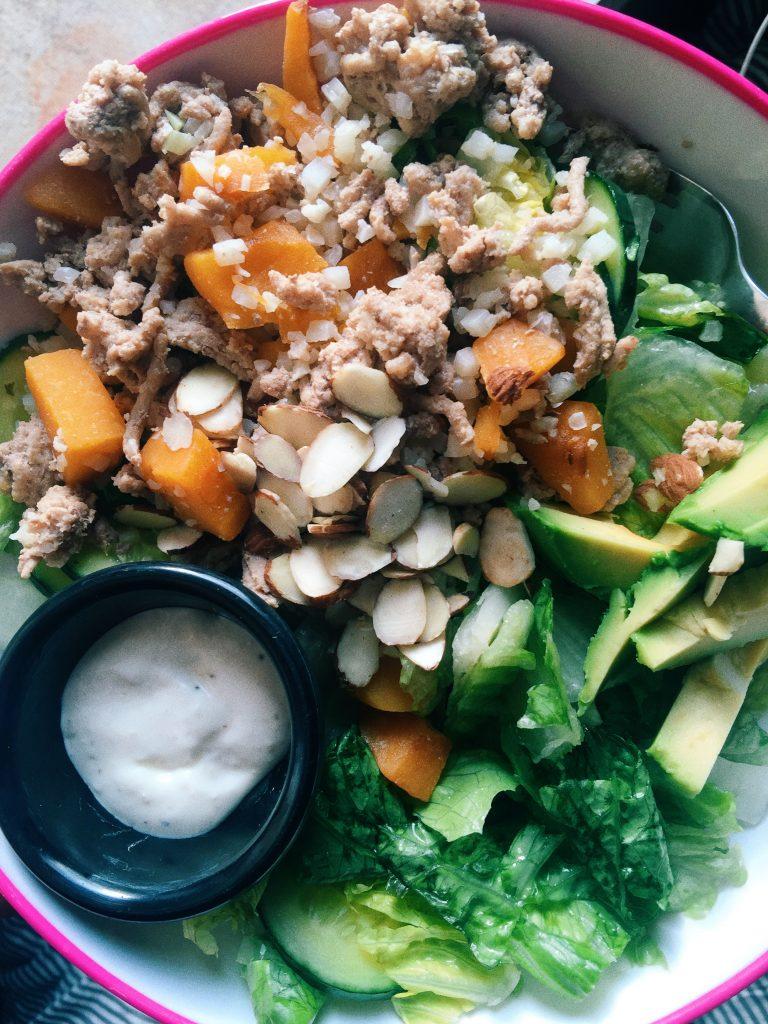 salad with avocados, butternut squash, cauliflower rice, ground turkey , almonds, cucumber,