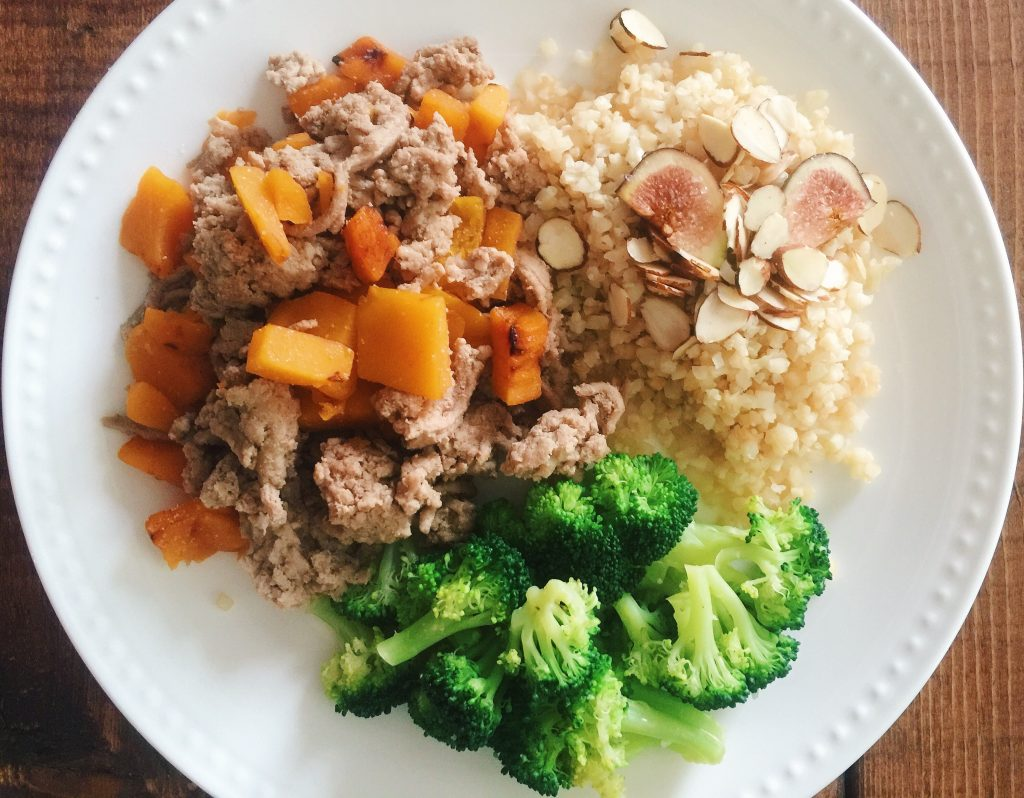 ground turkey with butternut squash, cauliflower rice and figs, broccoli