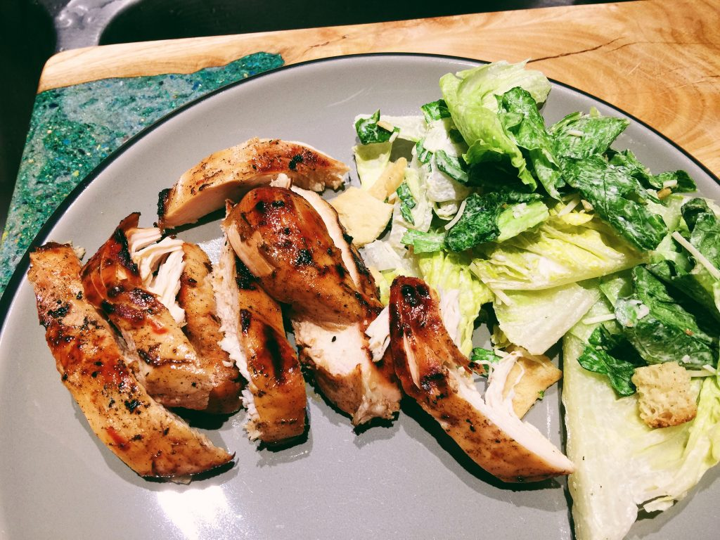 grilled Jamaican jerk chicken and salad