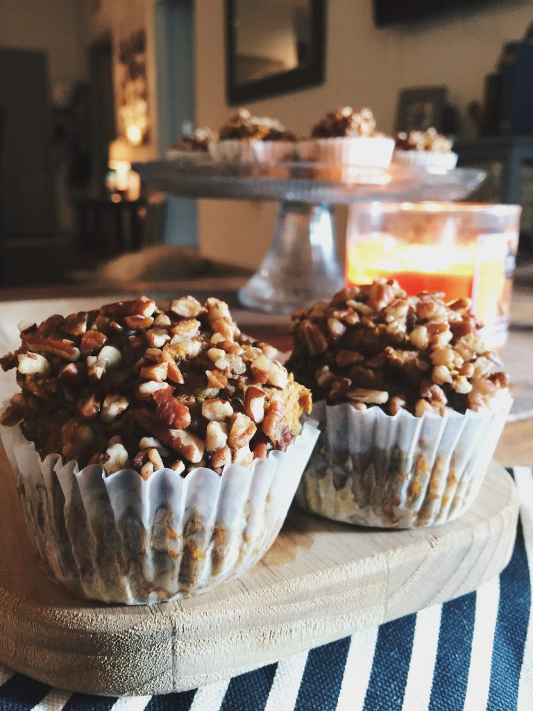 whole wheat healthy maple pecan pumpkin muffins