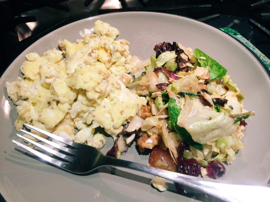 scrambled eggs and salad