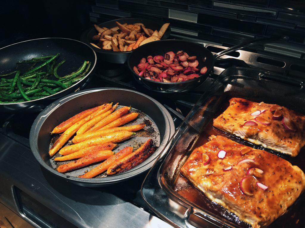 ... honey garlic green beans, sautéed radishes, and orange ginger salmon
