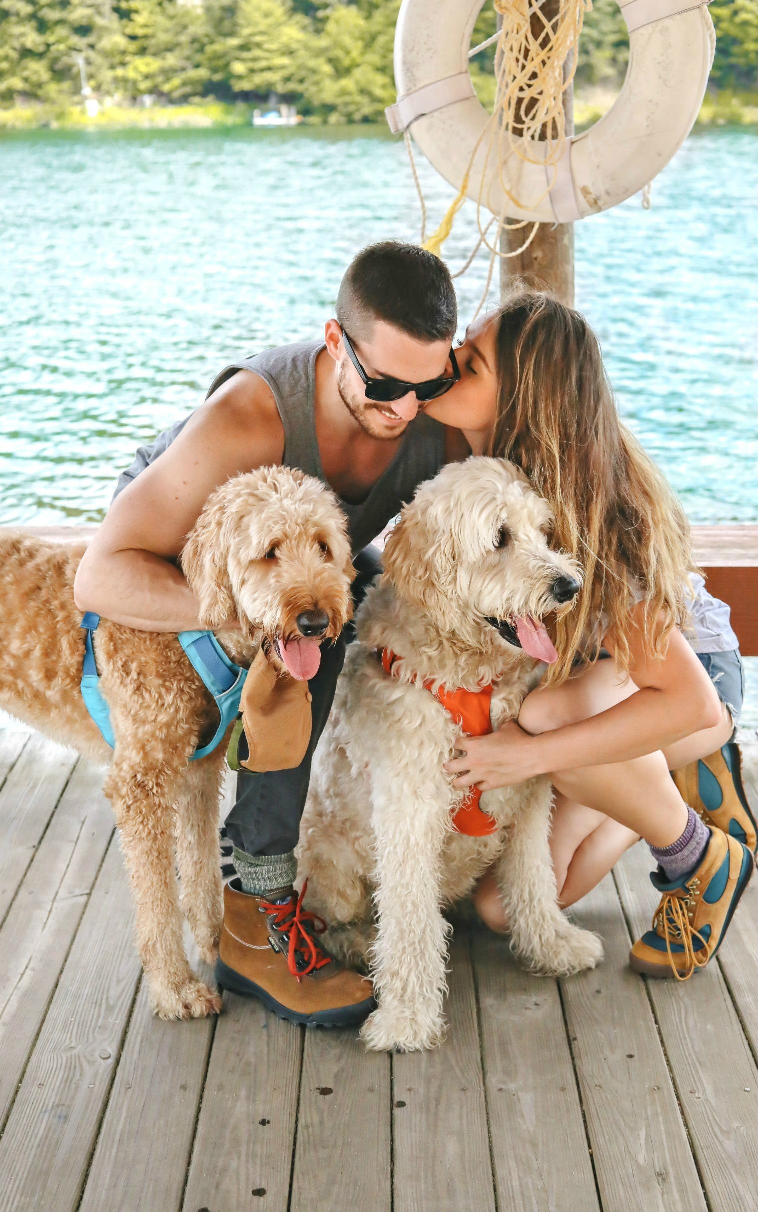 couples hiking, dogs, ruffwear, lake, mountain trip, hike, camp, fishing, Patagonia, back country, hiking boots