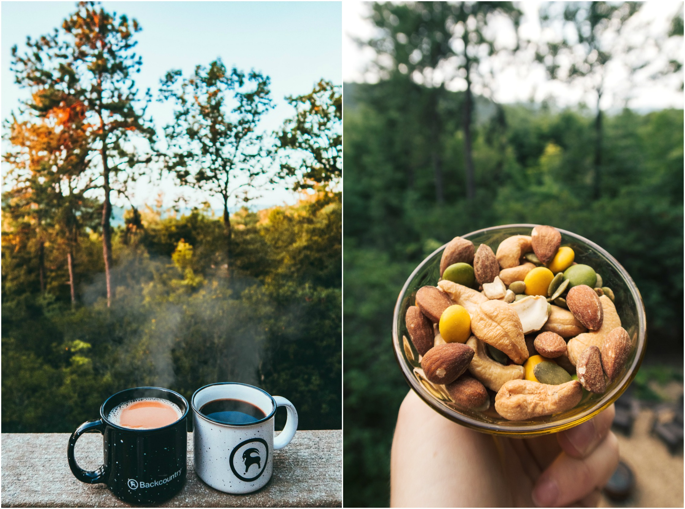 coffee camping trail hikes mountains mix ceramic mugs backcountry