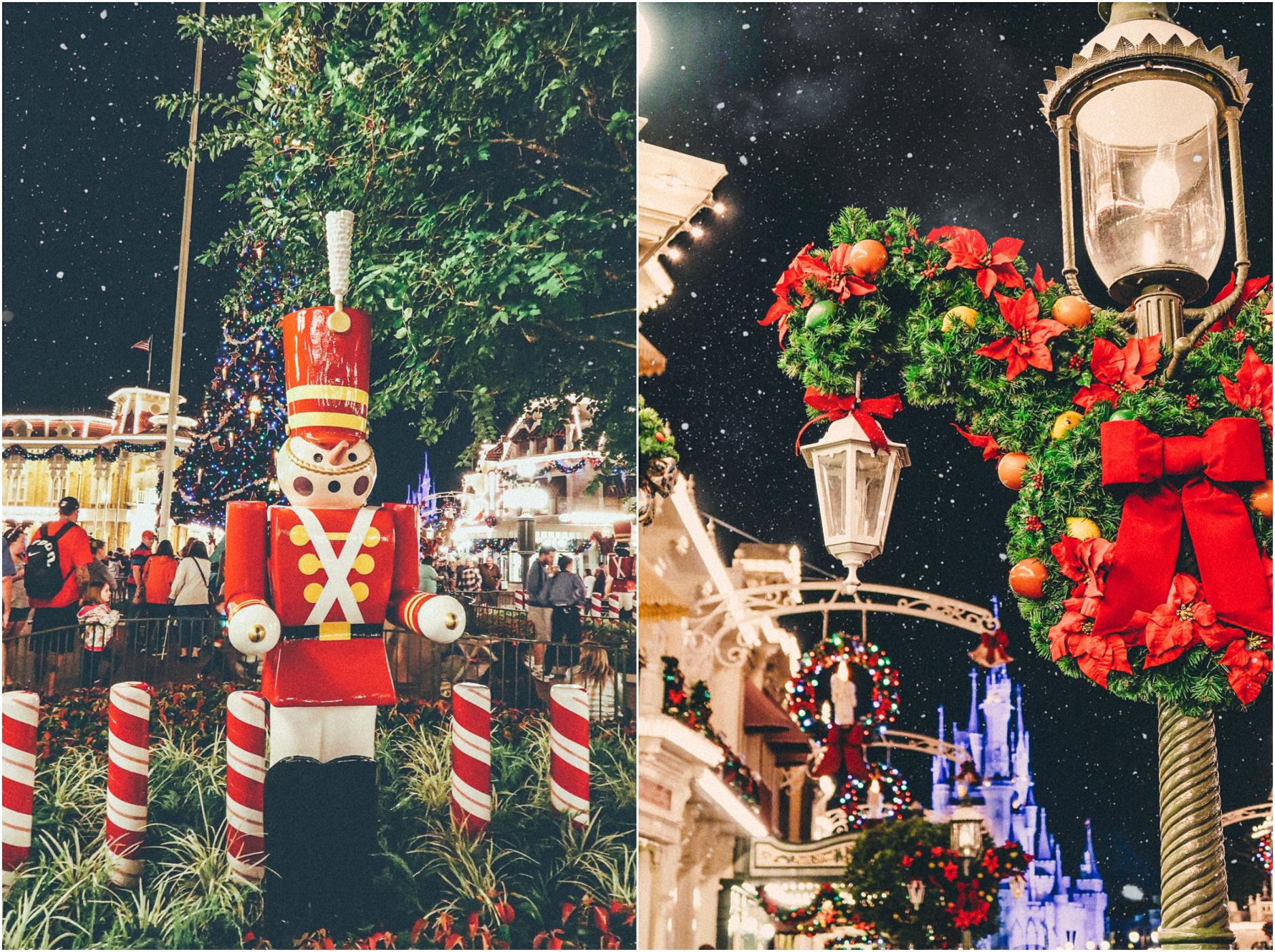 Magic Kingdom Disney World At Night Fireworks Show Christmas