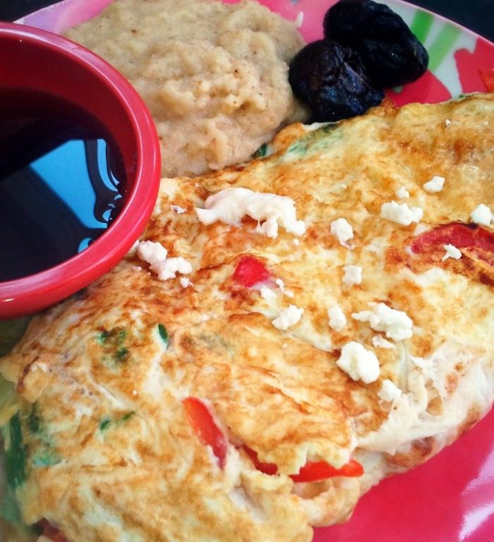 Breakfast Veggie Omelet With Pepper & Feta
