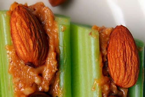 Celery With Almond Butter And Raw Almonds!