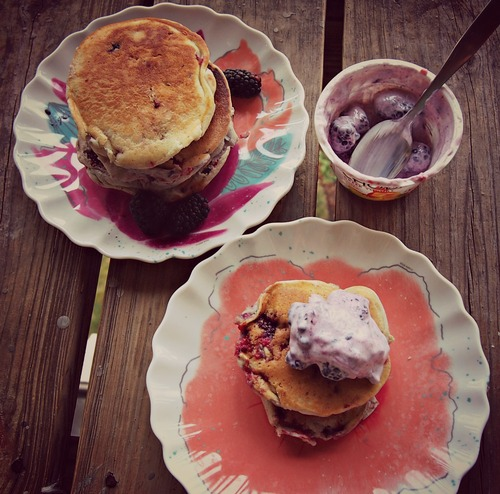Extra Berry Pancakes With Greek Yogurt!