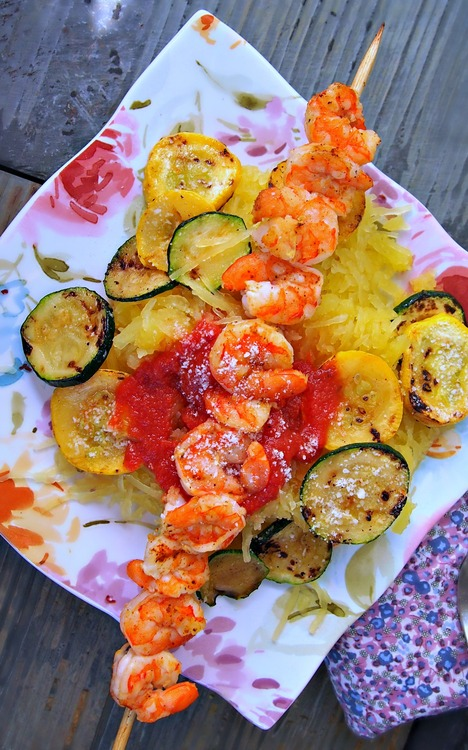 Grilled Shrimp Spaghetti Squash Pasta – The Perfect Low Calorie, Low Carb and Healthy Dish