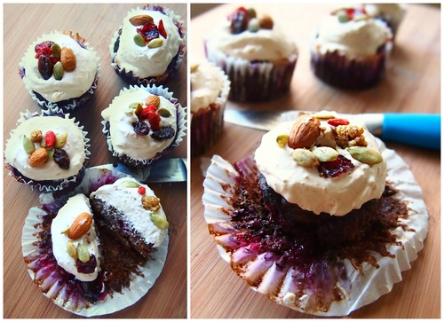 Healthy Chocolate Blueberry Banana Cupcakes With Peanut Butter Whipped Frosting! My Birthday Treat!