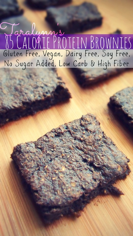 85 Calorie Protein Brownies: Gluten Free, Vegan, Dairy Free, Soy Free, No Sugar Added, Low Carb & High Fiber.