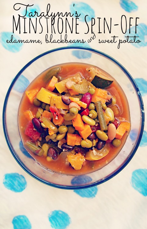 Minestrone Soup Spin-Off With: Sweet Potatoes, Black Beans, and Edamame!