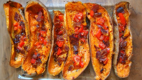 Healthy Game Day: Red Pepper & Bacon Sweet Potato Skins!