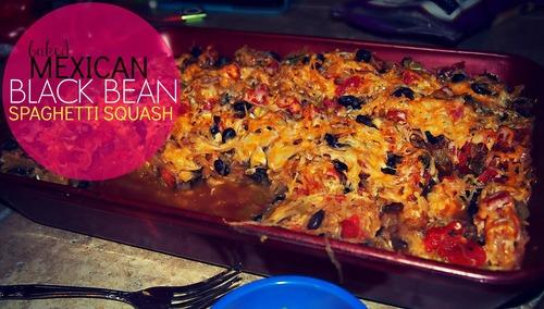 Baked Mexican Black Bean Spaghetti Squash!