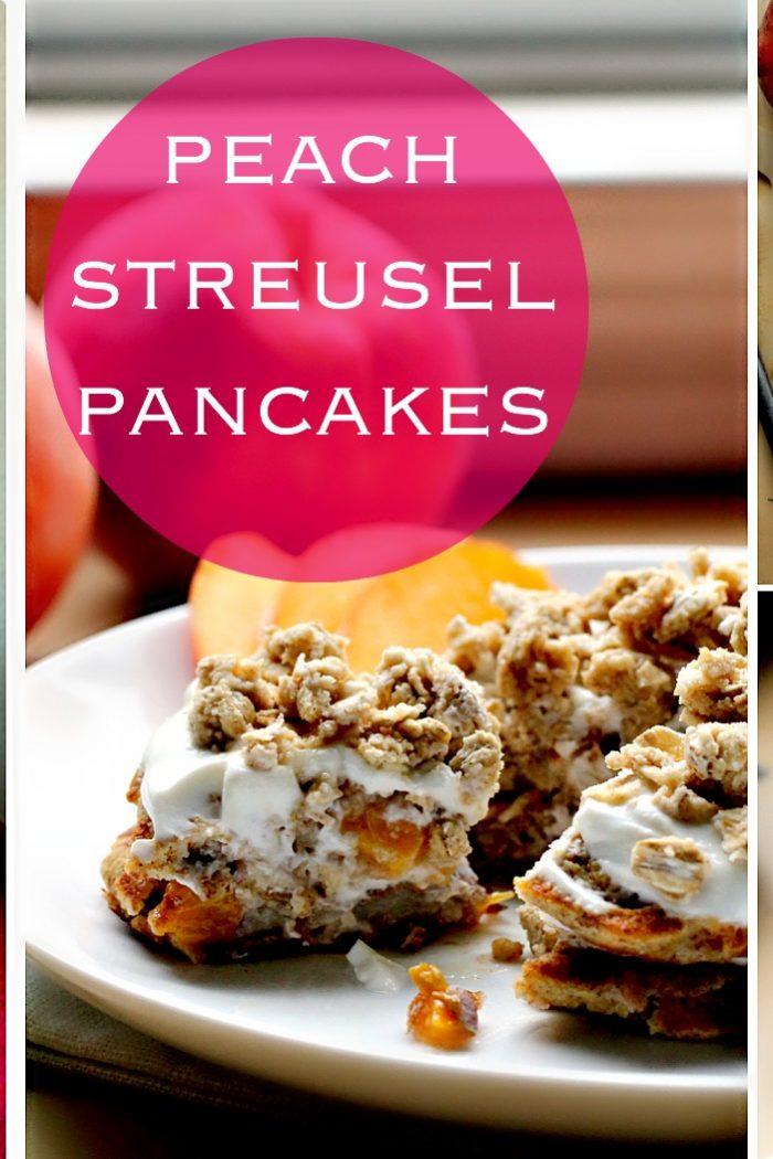 Peach Streusel Pancakes by The Pancake Princess.