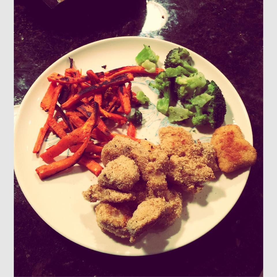 dinner parmesan broccoli sweet potato fries homemade chicken nuggets