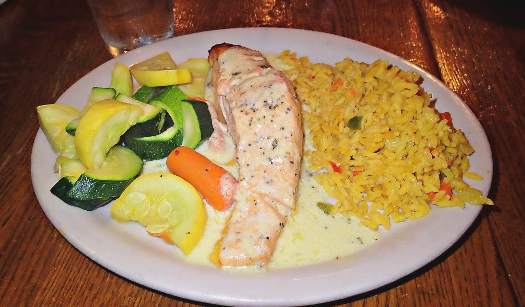 broiled salmon rice and vegetables Murphy's irish pub old town Alexandria Washington d.c.