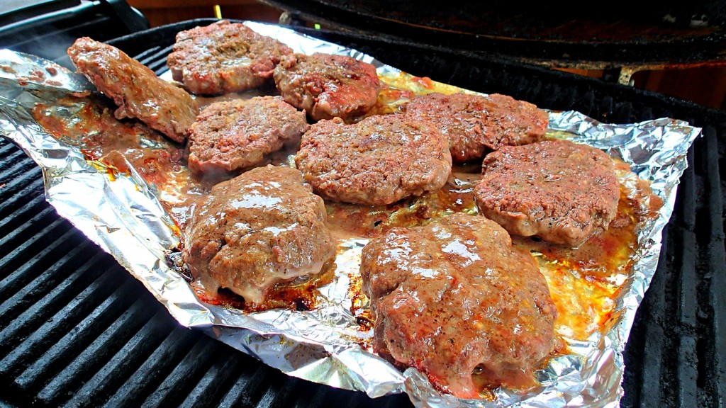 burgers grilling