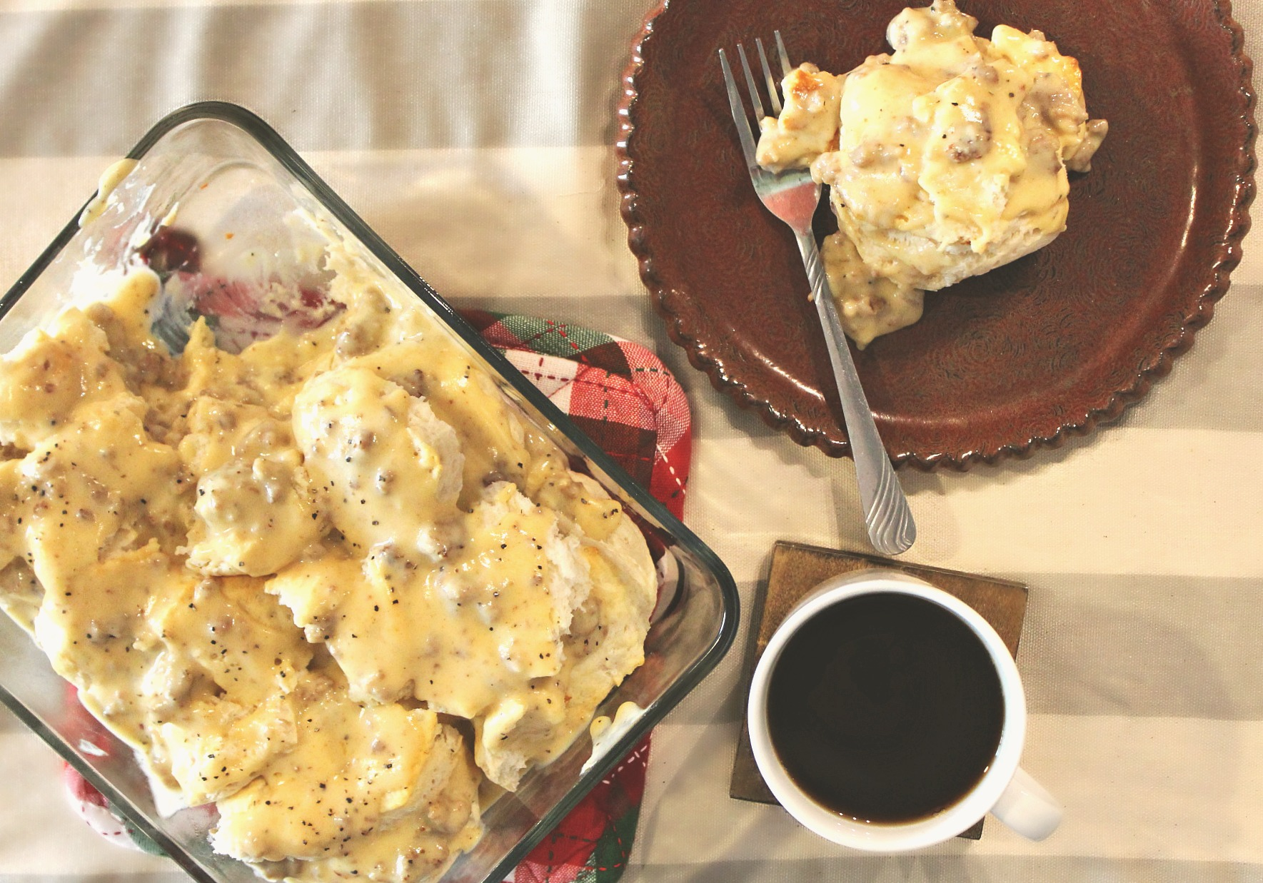 The Ultimate Cheesy Biscuits & Gravy Casserole