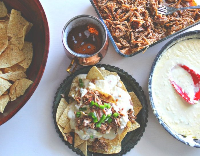 Four Beer Cheese Pulled Pork Nachos