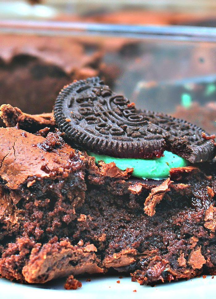 Fudgy Mint Oreo Brownies