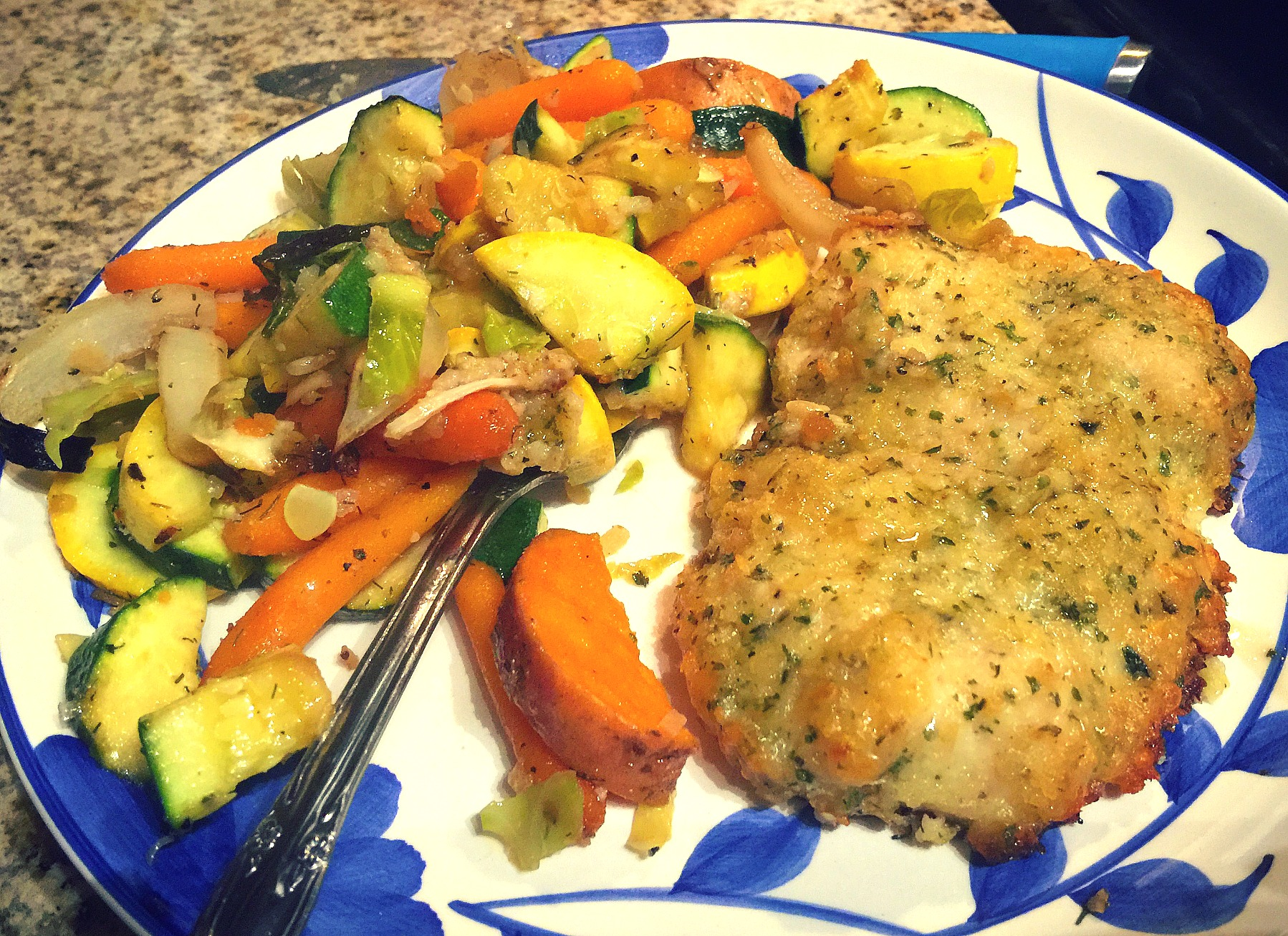 garlic parmesan crusted chicken and roasted vegetables