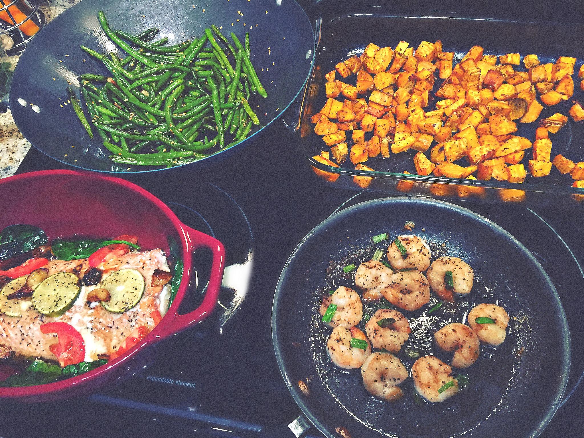 Friday Night Dinner: Salmon, Sweet Potatoes, Shrimp & Green Beans