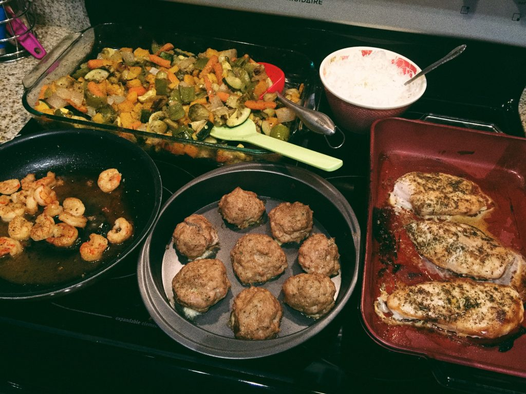 Delicious Dinner Night: Roasted Veggies, Turkey Meatballs, Sticky Rice, Sweet Chili Shrimp