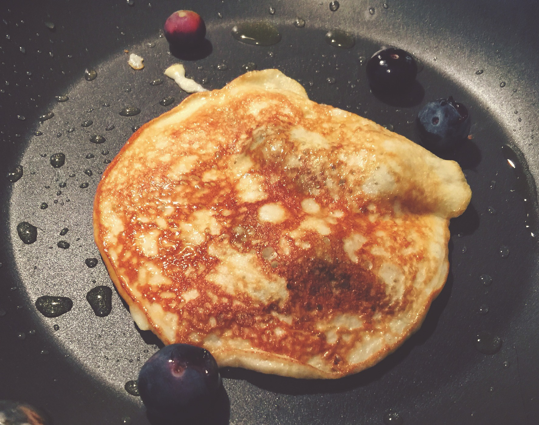 banana-egg pancakes with protein powder and blueberries