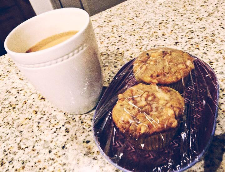 banana nut muffins and coffee
