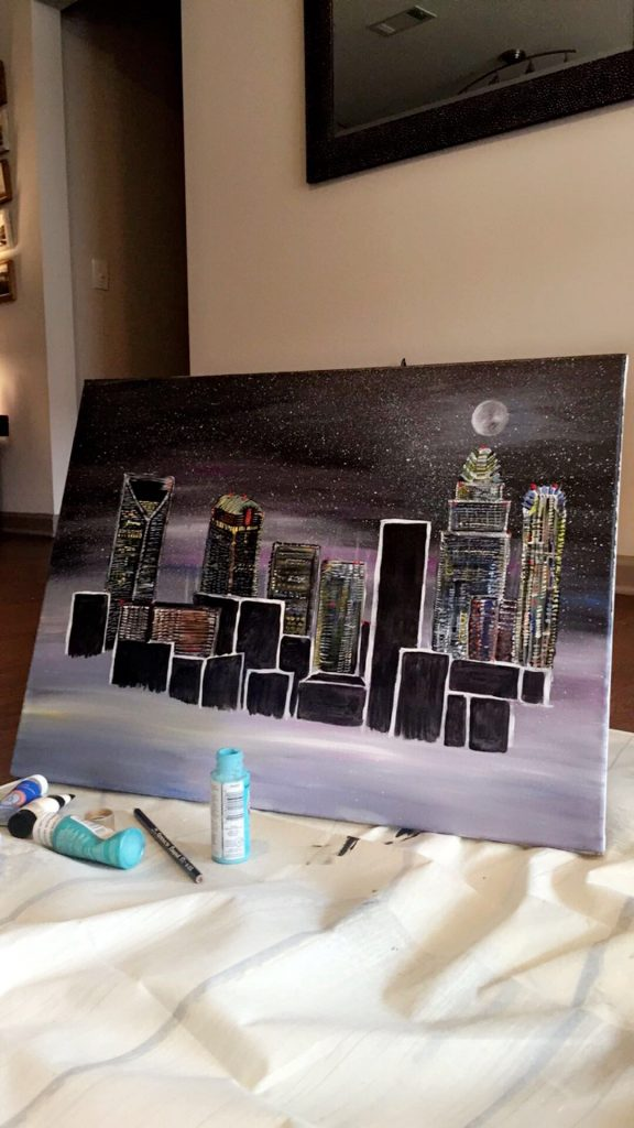 Charlotte NC Painting: Skyline Queen City