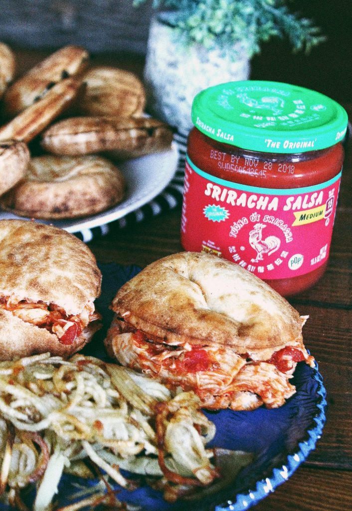 Crockpot Sriracha Salsa Chicken Sliders & Homemade Papas Fritas!