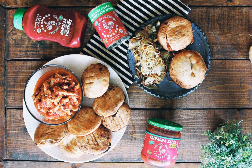 Crockpot Sriracha Salsa Chicken Sliders & Homemade Papas Fritas!